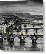 Bw Prague Bridges Metal Print by Yuriy  Shevchuk