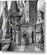 Bw Prague Charles Bridge 02 Metal Print by Yuriy  Shevchuk