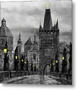 Bw Prague Charles Bridge 04 Metal Print