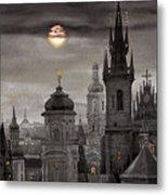 Bw Prague City Of Hundres Spiers Metal Print by Yuriy  Shevchuk