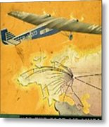 By Air To Ussr With The Soviet Union's Chief Cities - Vintage Poster Vintagelized Metal Print