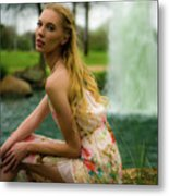 By The Fountain Metal Print