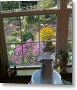 By The Garden Window In North Carolina Metal Print by Anna Lisa Yoder