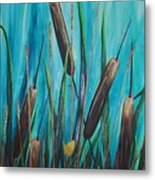 By The Shore Cat -tail Metal Print