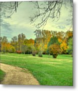 Cabin And Autumn Trees Metal Print