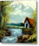 Cabin By The River Metal Print