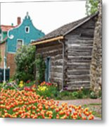 Cabin By The Tulips Metal Print