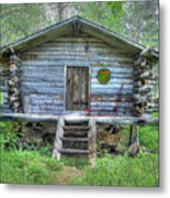 Cabin In Lapland Forest Metal Print