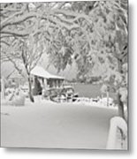 Cabin In Snow By The Sea Metal Print