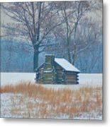 Cabin In The Snow - Valley Forge Metal Print