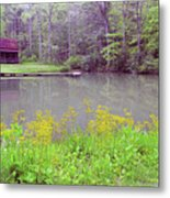 Cabin Reflection Metal Print