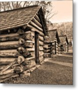 Cabins At Valley Forge In Sepia Metal Print