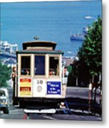 Cable Car 18 Heading Up The Hyde Street Line Metal Print