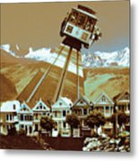 Cable Car Fly - San Francisco Collage Metal Print