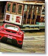 Cable Car Meets Ferrari Metal Print