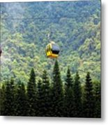 Cable Car Passes By A Mountain Slope Metal Print