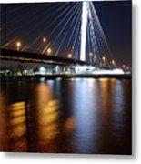 Cable-stayed Bridge Prins Clausbrug In Utrecht At Night 22 Metal Print