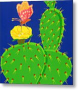 Cactus And Butterfly Metal Print