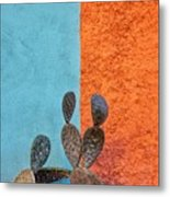 Cactus And Colorful Wall Metal Print