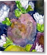 Cactus And Flowers Metal Print
