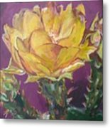 Cactus Blossom On Purple Background Metal Print