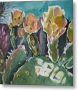 Cactus Blossoms In Desert Metal Print