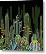 Cactus Garden At Night Metal Print