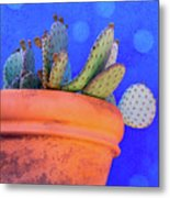 Cactus With Blue Dots Metal Print