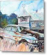 Caddy Sliding Down the Slope Metal Print