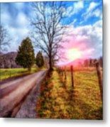 Cades Country Lane Metal Print