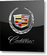 Cadillac - 3 D Badge On Black Metal Print