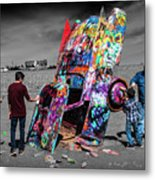 Cadillac Ranch Spray Paint Fun Along Historic Route 66 By Amarillo Texas Metal Print