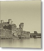 Caerphilly Castle Panorama Antique Metal Print
