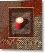 Cafe Au Lait - Coffee Art - Red Metal Print
