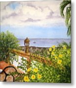 Cafe By The Sea Metal Print