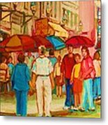 Cafe Crowds Metal Print