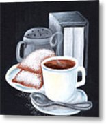 Cafe Du Monde On Black Metal Print