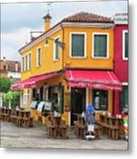 Cafe In Burano Metal Print