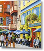Cafe In The Old Quebec Metal Print