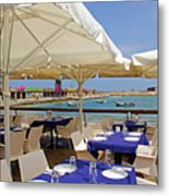 Cafe In White And Purple Metal Print