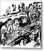 Cafe Scene Metal Print
