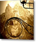 Cafe Sign In Bavarian Alps Metal Print