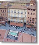 Cafes Of Il Campo In Siena Italy Metal Print