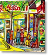 Caffe Italia And Milano Charcuterie Montreal Watercolor Streetscenes Little Italy Paintings Cspandau Metal Print