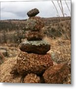 Cairn On The Mountain Metal Print
