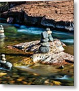 Cairns In The Creek Metal Print
