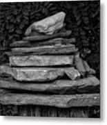 Cairns Rock Trail Marker Bluff Utah 01 Bw Metal Print