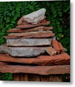 Cairns Rock Trail Marker Bluff Utah 01 Metal Print