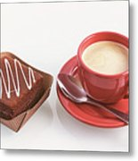Cake And Cup Of Coffee Metal Print