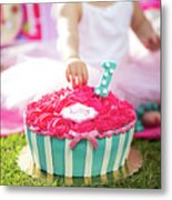 Cake Smash Pink Cake With Blue And White Stripes Metal Print